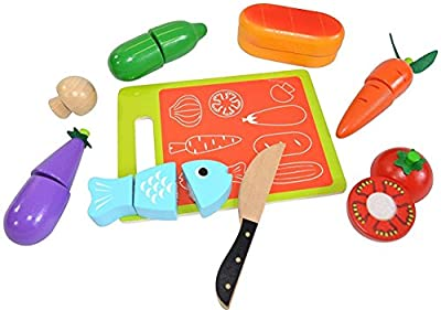 Pidoko Kids Pretend Play Food Set - Includes Cutting Board (16 Pcs) - Wooden Premium Quality - Toy Kitchen Accessories Helper