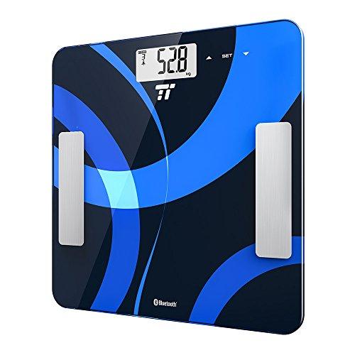 Digitale Körperwaage TaoTronics Personenwaage Gewichtswaage mit App-Anbindung zum Messen von Gewicht, BMI, Fett, Wasser, Muskeln, Knochenmasse, BMR,AMR