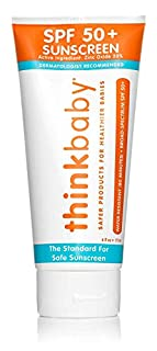 """Thinkbaby Safe Sunscreen was the first sunscreen to pass Whole Foods Premium Care requirements, and has held the highest rating in EWG's database since 2010 with a """"1"""" rating. As a company, Thinkbaby targets products containing questionable ingredien..."""