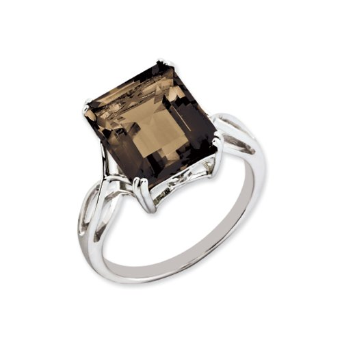 Octagonal Smokey Quartz Ring in Sterling Silver, Size 6 Smokey Quartz Ladies Ring