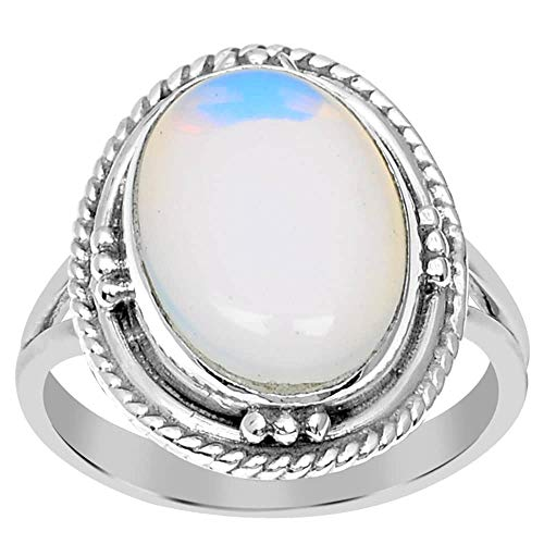 - Orchid Jewelry 5 Ct 925 Sterling Silver Ladies Anniversary Wedding Handmade Ring Opal (Size 7)