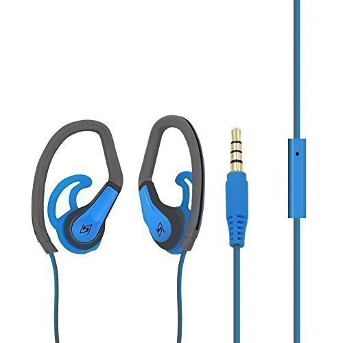 Honsenn,HS-S503,in-ear sports earphone,blue/grey,sweat and water resistant,stereo sound for most audio device with in-line microphone control and 3.5mm gold plated jack