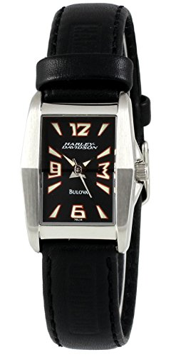 Harley Davidson by Bulova Women's Analog Rectangular Watch Black Leather Strap 76L14