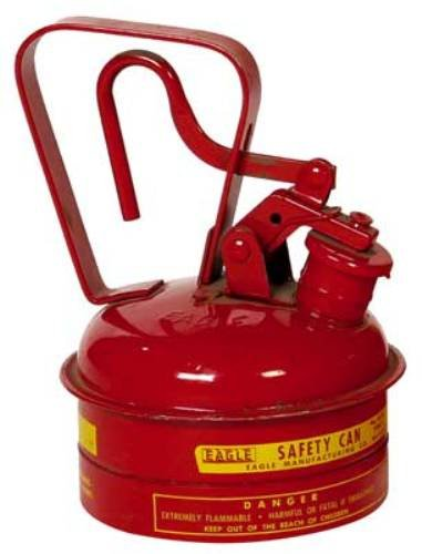 Eagle UI-2-S Red Galvanized Steel Type I Gas Safety Can, 1 quart Capacity, 8'' Height, 5.25'' Diameter by Eagle