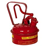 """Eagle UI-2-S Red Galvanized Steel Type I Gas Safety Can, 1 Quart Capacity, 8"""" Height, 5.25"""" Diameter"""