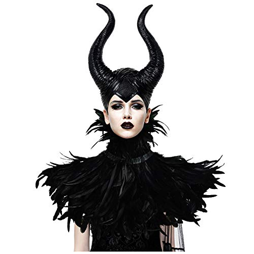Homelex Gothic Black Crow Costume Feather Cape Shawl with Maleficent Horns Set (Collar&Horns)