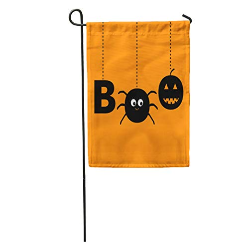 Semtomn Garden Flag Hanging Word Boo Text Smiling Sad Black Pumpkin Spider Insect Home Yard House Decor Barnner Outdoor Stand 12x18 Inches Flag -