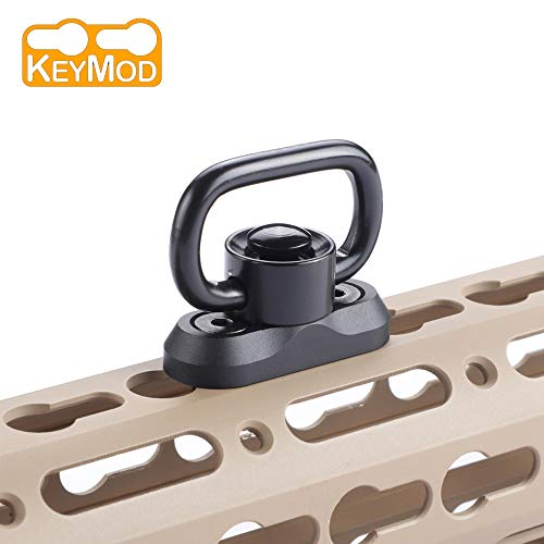 (Sawke Keymod QD Sling Swivel - Quick Detach Sling Mount,1 Inch Sling Swivel for Keymod Rail,Gun Sling Swivel with Quick Release Button (for Two Point Sling) (Black))