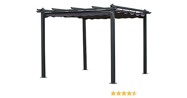 habitatetjardin Pergola de Aluminio Monica - 3 x 3 x Altura .2.2 m - Color Gris