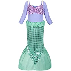 ReliBeauty Girls Sequins Little Mermaid Costume 4T