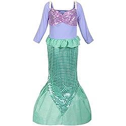 ReliBeauty Girls Sequins Little Mermaid Costume 4T