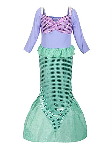 ReliBeauty Girls Ariel Dress Sequins Little Mermaid Costume, -