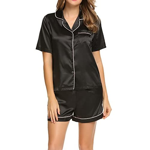 New Ekouaer Short Sleeve Satin Pajama Set Single Button Silk Sleepwear For Women