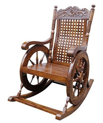 Artesia Sheesham Wooden Hand Carved Outdoor Porch Rocking Chair