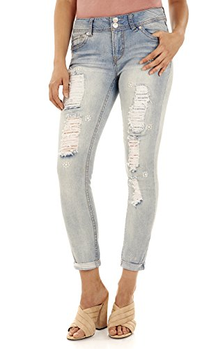 WallFlower Women's Juniors Luscious Curvy Embellished Ankle Jeans in Skyler, 1