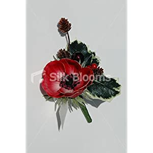 Red Real Touch Anemone Poppy Christmas Wedding Buttonhole 97
