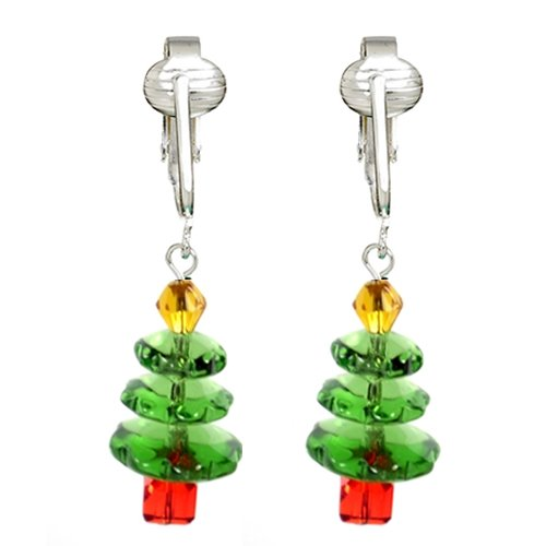 - Fun Christmas Clip-on Earrings for Ladies & Girls-Angels, Trees, Santa, Lights, Holly Berry, Snow Holiday (Christmas Trees)