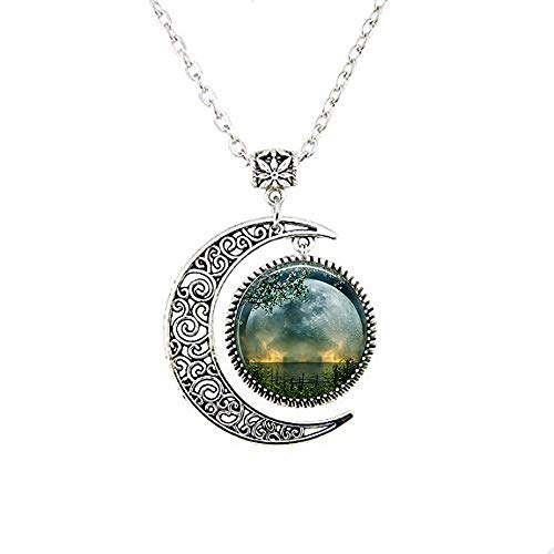 Summer Solstice Moon Necklace,Full Moon Necklace,Solstice Jewelry Wiccan Jewelry, Pagan Jewelry Beltane Glass Gift Necklace -