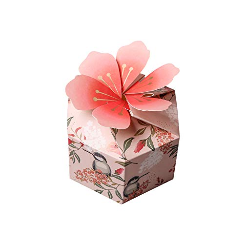 Colias Wing 50 pcs Unique Cherry Blossoms &Flower Pattern Stylish Design Hexagon Shape Wedding Birthday Party Favor Candy Boxes-Pink