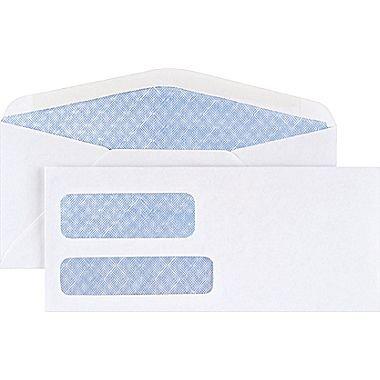 Staples #9, Standard Invoice Double Window Security-Tint Gummed Envelopes, 500/Box