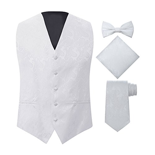 S.H. Churchill & Co. Men's 4 Piece Paisley Vest Set, with Bow Tie, Neck Tie & Pocket Hankie - (S (Chest 41), White)