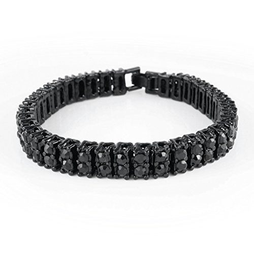 Black Diamond Fashion Bracelet (14K Black Gold Plated Gold 2 ROW Diamond Iced Out Bracelet (7 inches))