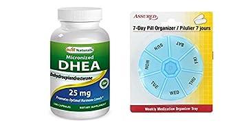 Mejor naturales, DHEA micronizado 25 mg 180 cápsulas con gratis 7 días plástico píldora organizadores