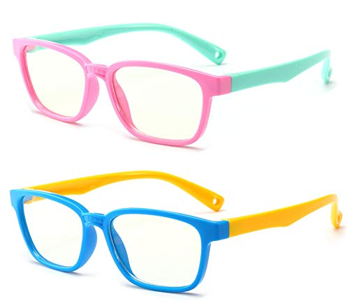 Anti Blue Light Glasses for Kids Computer Glasses,UV Protection Anti Glare Eyeglasses Computer Glasses Video Gaming Glasses for Children (Pink-Green+Blue-Yellow)