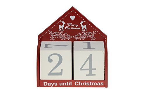 Merry Christmas Count Down Advent Calendar Blocks | Days Until Christmas |100% Wood | Red & White Message | Measures 4.5