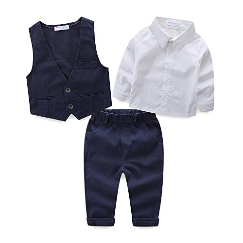 Mud Kingdom Little Boys Suits for Weddings White Shirts, Vests and Pants Clothes Sets 4T Dress Vest Pants