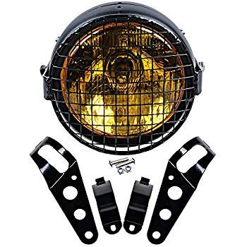 Complete Set 6.5 inch Retro Round Amber Lens Motorcycle Headlight + Mesh Grille + 35mm-43mm Mount Brackets ()