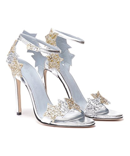 Summer New Women Black Velvet High-heeled Sandals Silver Ankle Strap Buckles Sandals Court Shoes Party Dress Pumps Sequins Shoes Silverheel8cm 3jKiSzHkgp