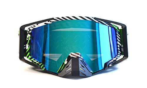 CRG Motocross ATV Dirt Bike Off Road Racing Goggles Adult T815-105 Series (Black and White and Green)