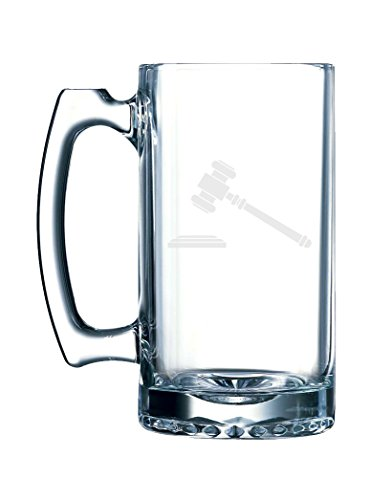 Gavel Hammer of Court Judge Auctioneer Law Authority - 26.5 Ounce Glass Mug - Authority Glasses