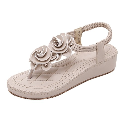 Shoes flip Flops of Flowers Sandal Women's apricot Styles Colorfulworld Bohemia wqUPxpIx5n