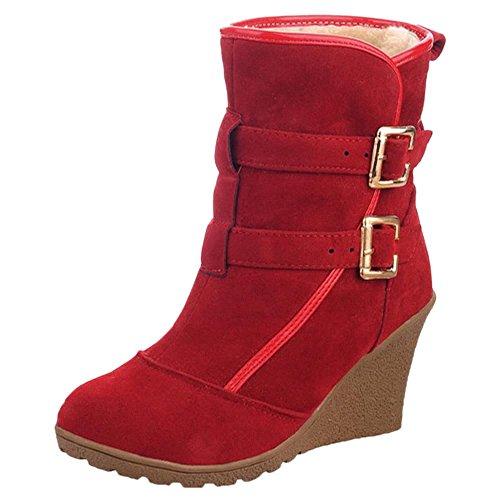 COOLCEPT Botas de Tacon Cuna para Mujer Red-H