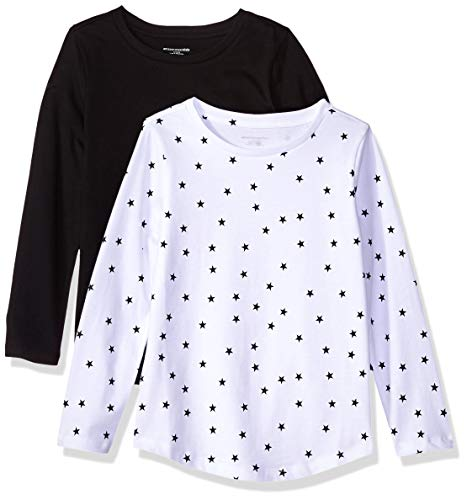 Amazon Essentials Big Girls' 2-Pack Long-Sleeve Tees, Mixed Star and Black, M(8)