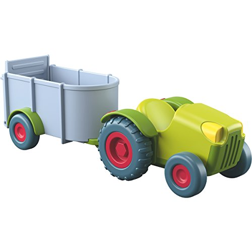 HABA Little Friends Tractor and Trailer - 2 Piece Free-Wheel