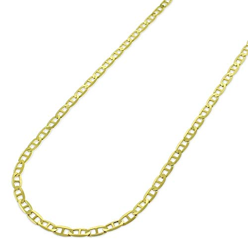Verona Jewelers 14K Solid Gold Unisex 3.2MM Flat Mariner Link Chain Necklace- 14K Gold Chain, 14K Gold Necklace for Women and Men, Real 14K Gold Chain 16