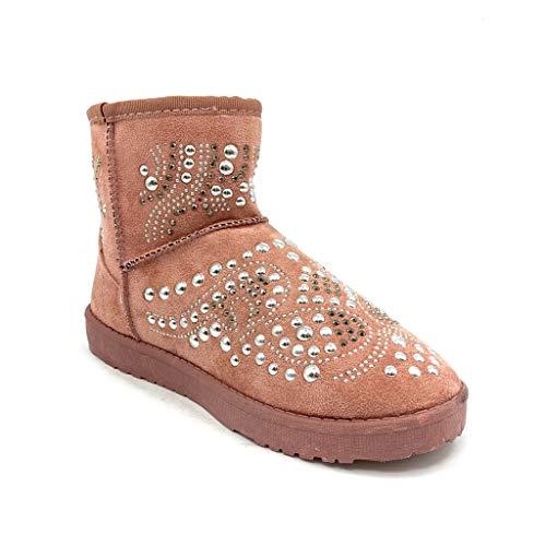 2 Bottine Plat Chaussure Tient De Mode Confortable Talon Cm Perle Femme Bottes Chaud Clouté Angkorly Neige Rose n6HFOExnw