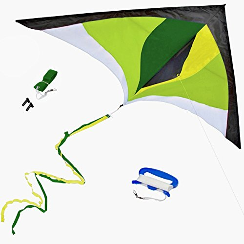 Best Delta Kite, Easy Fly for Kids and Beginners, Single Line w/Tail Ribbons, Stunning Green & Yellow, Materials, Large, Meticulous Design and Testing + Guarantee + Bonuses!