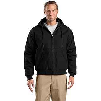 CornerStone Duck Cloth Hooded Work Jacket, Black, 6XL