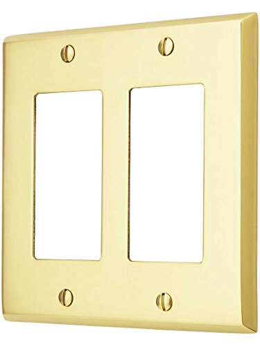 - House of Antique Hardware R-010II-FBSP-2G-PB Traditional Forged Brass Double Gang GFI Cover Plate in Polished Brass Finish