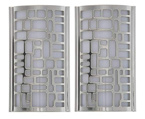 Capstone Dusk to Dawn LED Plugin Night Light-Automatic Dusk to Dawn Sensor Feature, Decorative Sconce Lights Up Your Home,No Batteries Needed-Covers Unused Outlet Plugs, Puzzle Art, Chrome (Pack of 2)