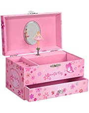 SONGMICS Ballerina Music Jewelry Box Storage Case with Drawer, Gift for Little Girls, Pink UJMC003