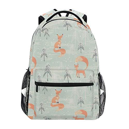 TropicalLife Fox Forest Backpacks School Bookbag Shoulder Backpack Hiking Travel Daypack Casual Bags