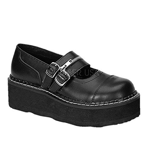 Demonia By Pleaser Women's Emily-306 Mary Jane Flat,Black Polyurethane,12 M US]()