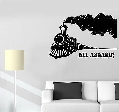 Railroad Photo Train Real (Vinyl Wall Decal Train Locomotive Railway Children's Room Stickers VS444)