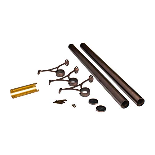 Outwater 8' Bar Foot Rail Kit - Complete Undercounter Mount Hardware and Tubing, Antique Bronze Finish ()