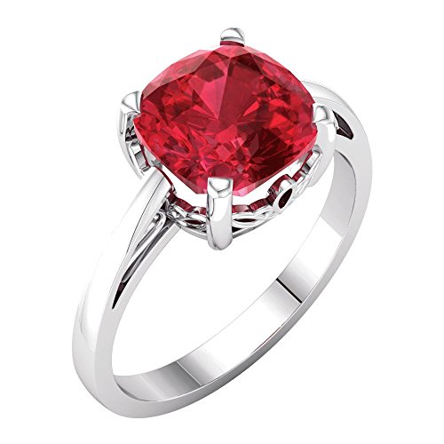 Bonyak Jewelry Lab-Created Ruby 14k Yellow Gold Chatham Created Ruby Ring - Size 7